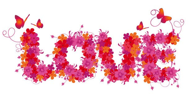 Надпись любовь сотканная из цветов
